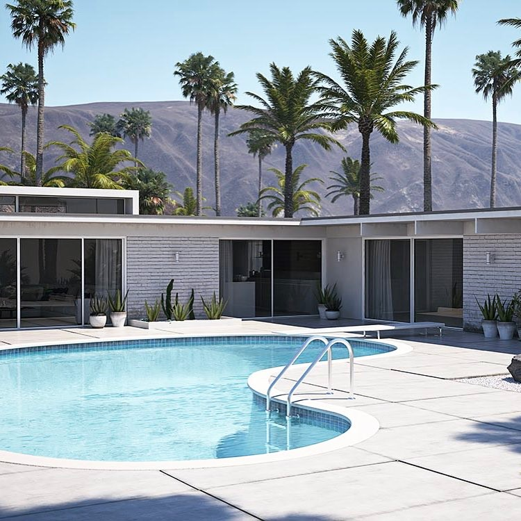 How do you like it ? ️😎 #renderizer #luxuryrealestate #retro #vintage #palmsprings #render_contest #renderbox #rendering3d #villa #magazine #cgi #vrayrender #vray #adagency #werbeagentur #blogger #instamood #photooftheday #pool #losangeles #hollywood #architecture #exterior